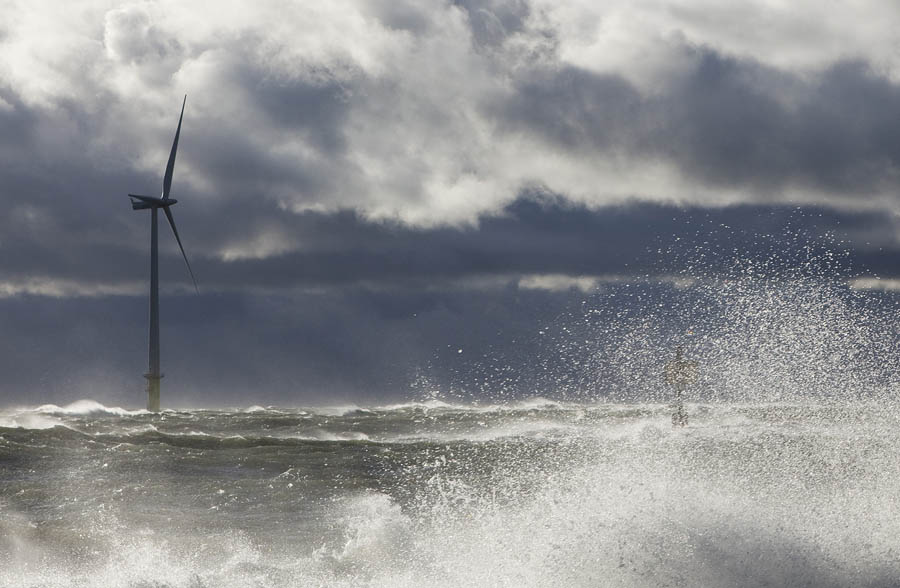 The pilot wind turbine in a storm October/14 2010.